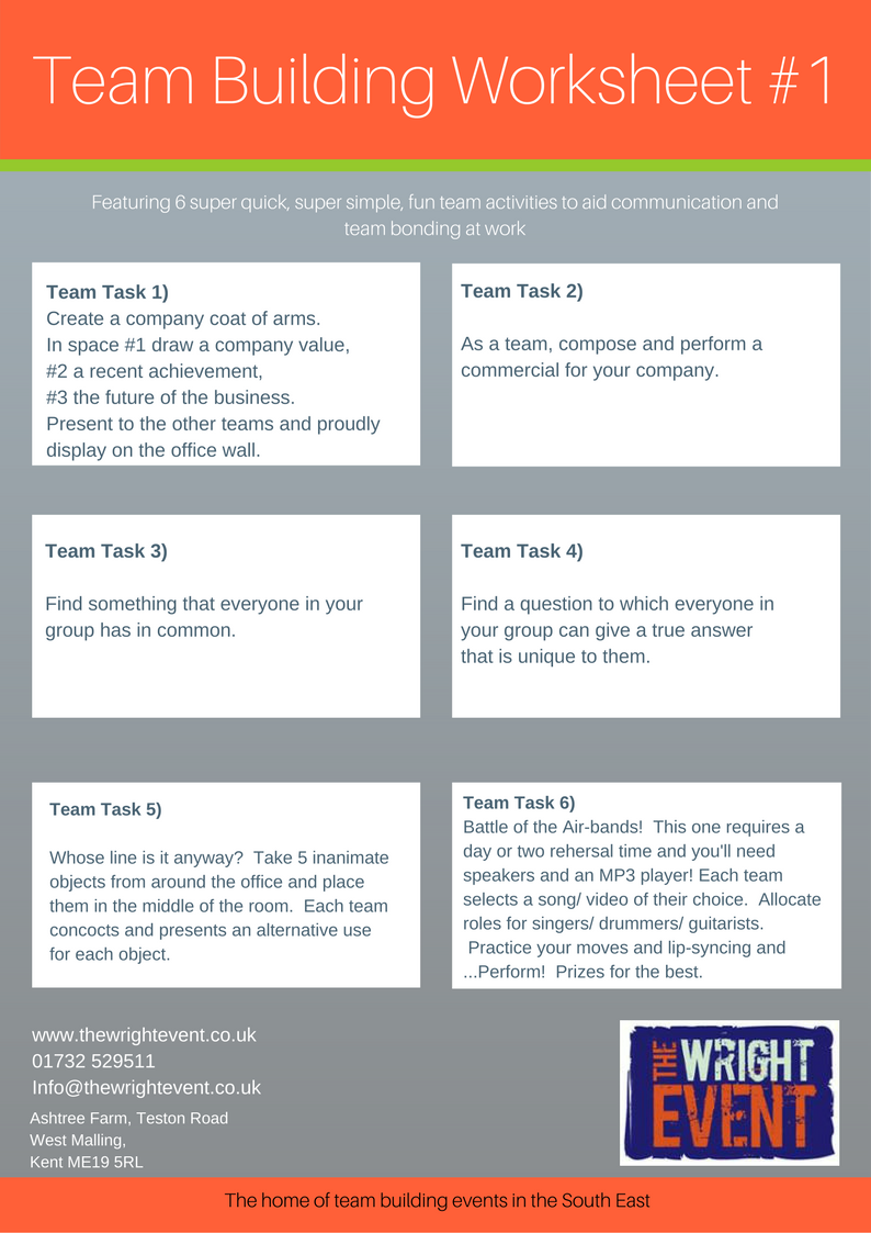 Team Building Worksheets: blog 3 team building worksheets to use in the office,